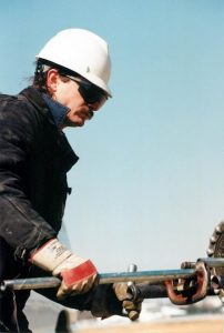 Foreman Brian Morgan working in the field in the 1990s