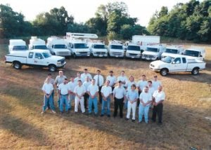 Field technicians and the Paul A. Nickle, Inc. fleet in the late 1990s